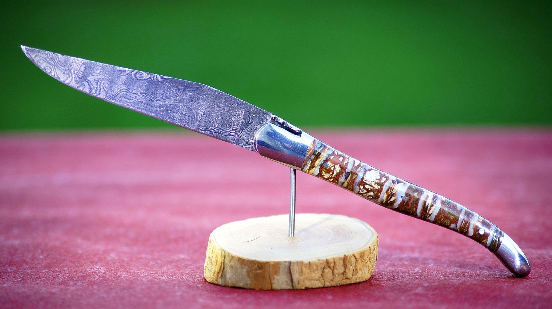 Original laguiole - Taschenmesser Laguiole Honore Durand, Mammutbackenzahn,  Damastklinge, brown string
