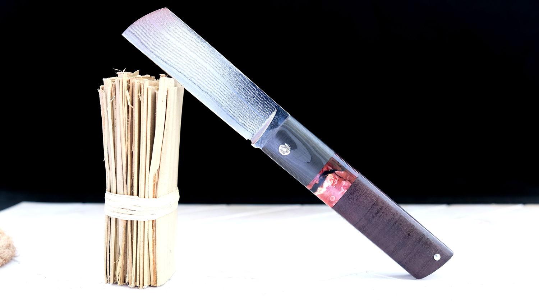 Original laguiole - Taschenmesser TARLO von Thomas Fleury, Amarant/Mammutbackenzahn/Carbon, Damast, brillant