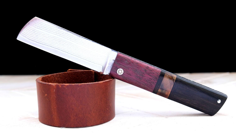 Original laguiole - Taschenmesser TERTO von Thomas Fleury, Amarant/Mammutbackenzahn/Ebenholz, Damast, brillant