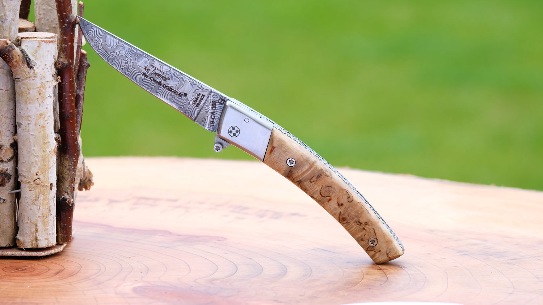 Original laguiole - Taschenmesser Thiers Claude Dozorme, FlipDrop-System, Birke, brosse, Damast, 11 cm