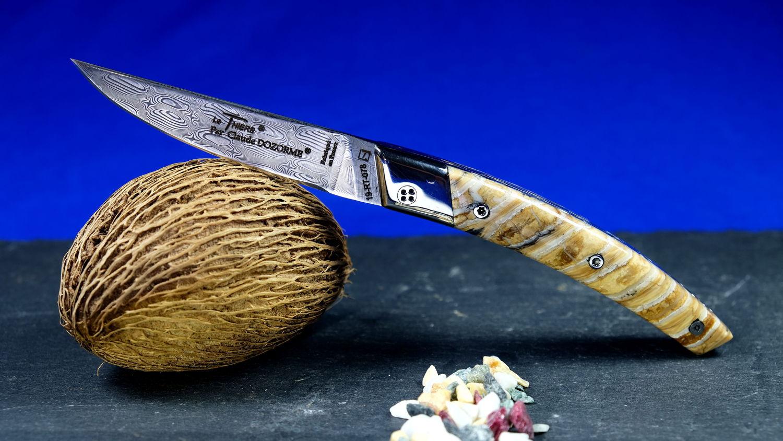 Original laguiole - Taschenmesser Thiers Claude Dozorme, SAND QUEEN, Damast, Mammutbackenzahn, brillant