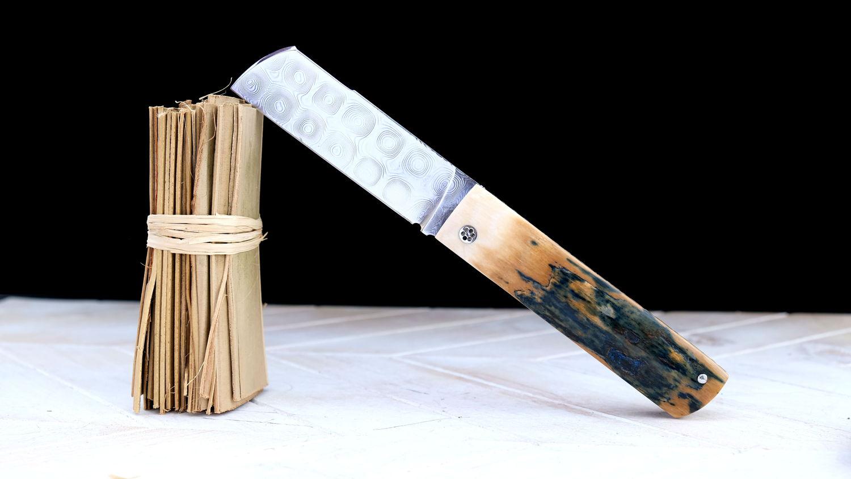 Original laguiole - Taschenmesser TOMKA von Thomas Fleury, Mammutelfenbein, Damast, brillant