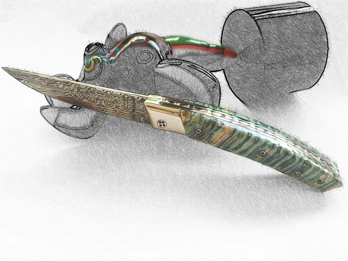 Original laguiole - Taschenmesser Thiers Claude Dozorme, Damast, Mammutbackenzahn grün, brillant