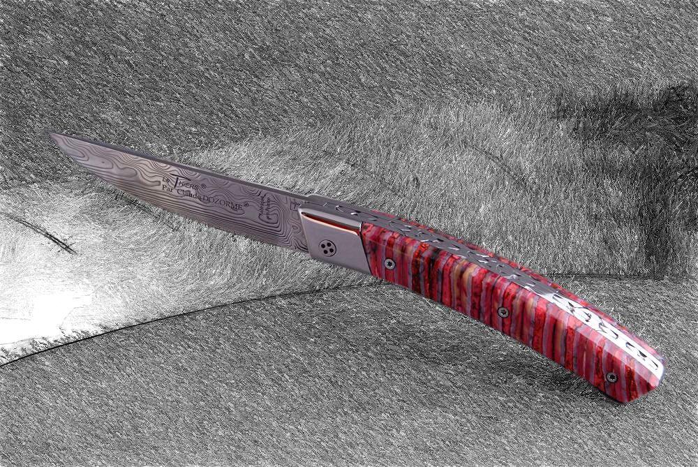 Original laguiole - Taschenmesser Thiers Claude Dozorme, Damast, Mammutbackenzahn rot, brillant