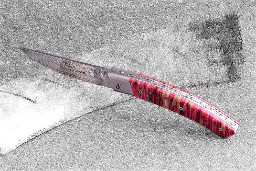 Original laguiole - Taschenmesser Thiers Claude Dozorme, Damast, Mammutbackenzahn rot, brosse