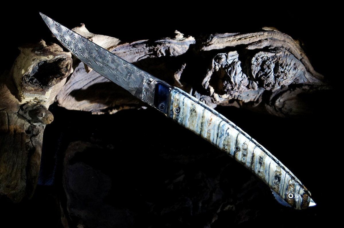 Original laguiole - Taschenmesser Thiers Verrou Claude Dozorme, Mammutbackenzahn Damast, brown sugar