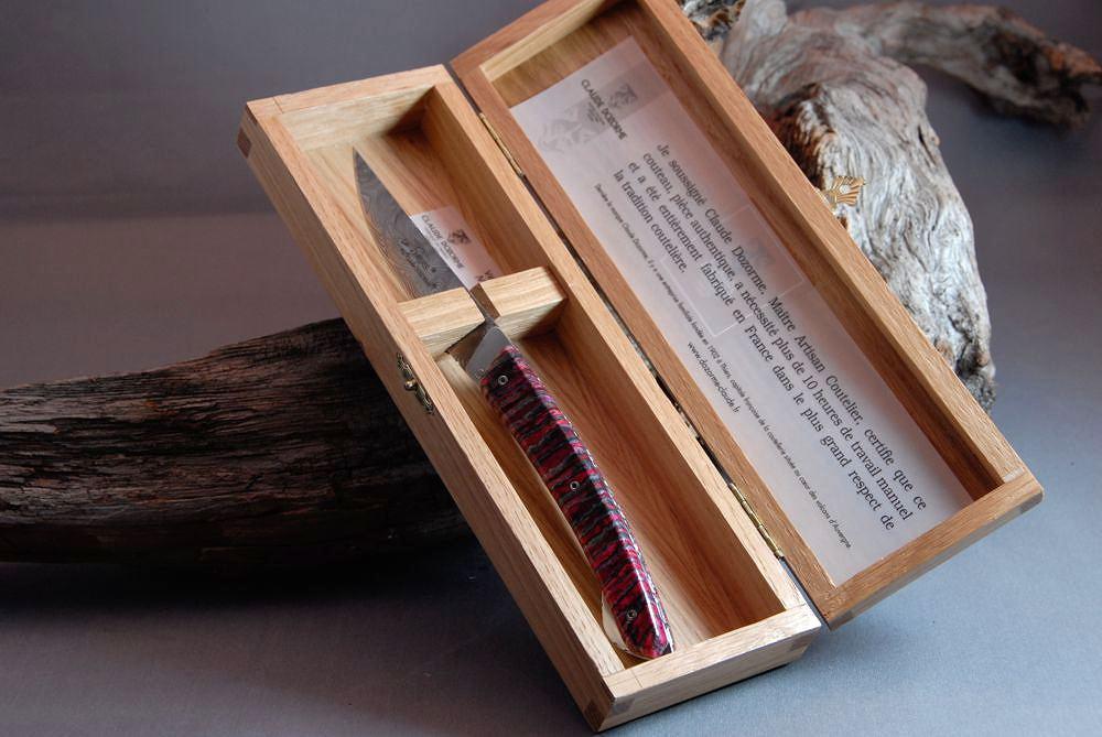 Original laguiole - Taschenmesser Thiers Verrou Claude Dozorme, Damast, Mammutbackenzahn red earth