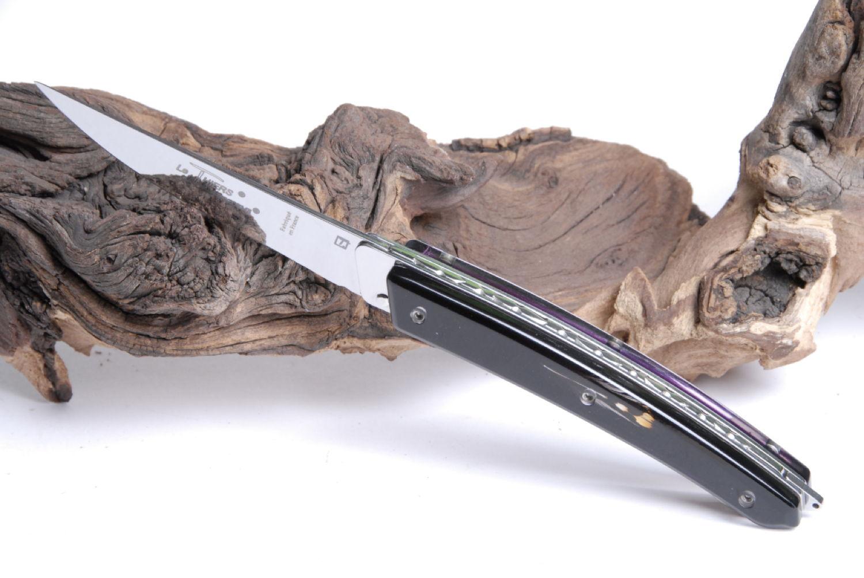 Original laguiole - Taschenmesser Thiers Verrou Claude Dozorme, guillochierte Platine, Dschungelhahnfeder, schwarz