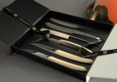 Original laguiole - Claude Dozorme Thiers 6-teilig, Steakmesserset Thomas Bastide miroir/creme