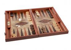 Handgemachtes Backgammon aus Olivenholz (Wurzelholz) mit Seitenfächer für die Steine, 38 x 27 cm