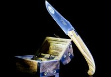Jagdmesser Laguiole en Aubrac, Edition Plein, Olivenholz, 14 cm, brosse