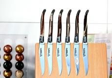 Laguiole en Aubrac 6-teilig, Steakmesser Set, Edition HYBRID, brillant, Wüsteneisenholz