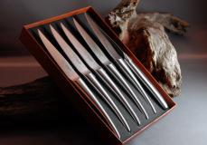 Original laguiole - Laguiole en Aubrac 6-teilig, Steakmesser Set Monoblock Brosse Edelstahl