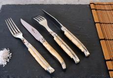 Laguiole GOYON-CHAZEAU PRESTIGE, 4-teilig, Steakmesser und Gabeln, Birke, brillant