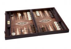 Handgemachtes Backgammon aus Nussbaum (Wurzelholz) mit Seitenfächer für die Steine, 38 x 27 cm