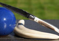 Original laguiole - Taschenmesser Laguiole Du Barry, Hirschhorn Kruste, Brut de Forge Klinge, 13 cm