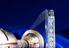 Taschenmesser Laguiole Du Barry, plein, Damast, okzitanisches Kreuz, Giraffe grau, brillant, double platines