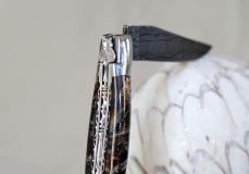Taschenmesser Laguiole en Aubrac, Double Platines, Brillant, Damast, Mammutbackenzahn blue night