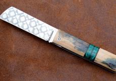 Taschenmesser TALACHITE von Thomas Fleury, Mammutstosszahn/Malachite, Damast, brillant