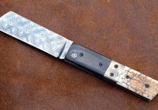 Taschenmesser TOMUT von Thomas Fleury, Mammutstosszahn/Carbon, Damast, brillant